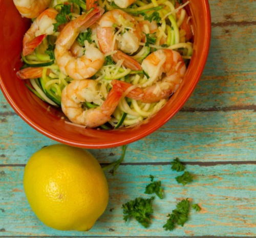 Lemon Garlic Cucumber Noodles with Shrimp