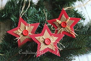 Rustic Paper Christmas Stars Ornaments