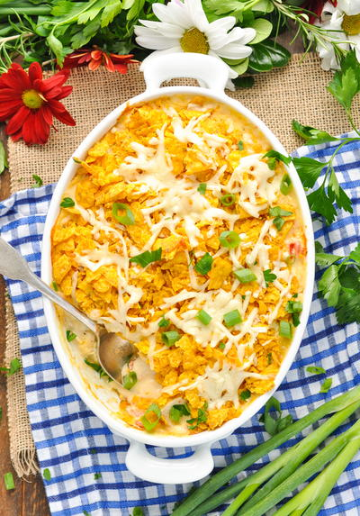 Dump-and-Bake Cool Ranch Dorito Chicken Casserole