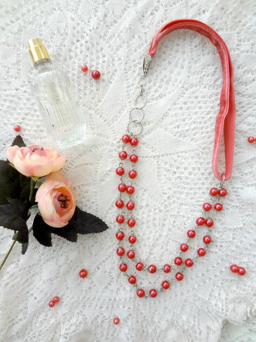 Romantic Bead and Ribbon Necklace