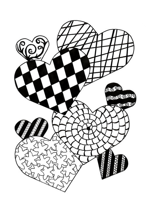 Zentangle Cupid of Hearts Adult Coloring Page