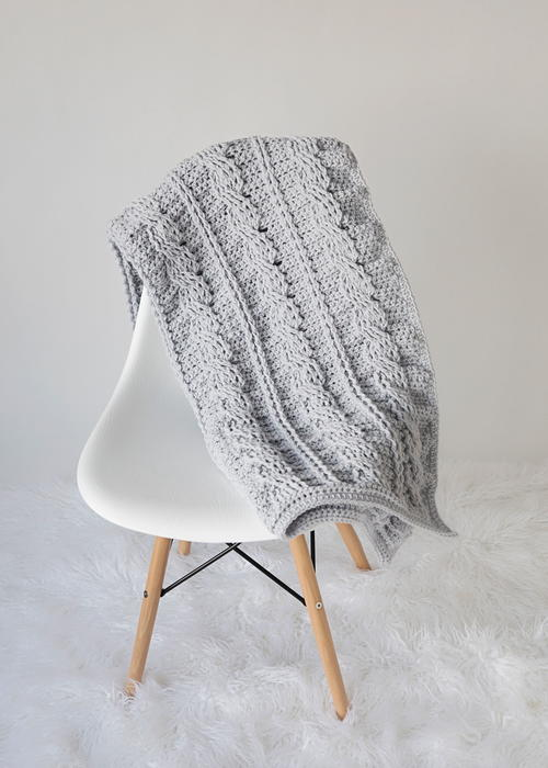 Timeless Cabled Crochet Throw