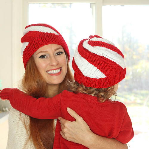 Easy Knit Candy Cane Swirl Hats