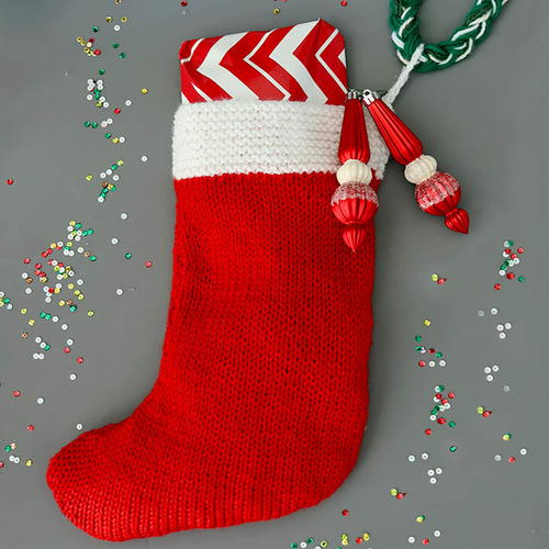 Flat Knit Christmas Stocking