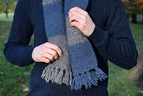 Easy Mens Striped Scarf Knitting Pattern