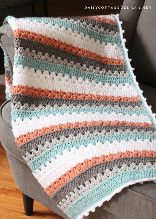 Quick And Simple Striped Baby Blanket Pattern Allfreecrochetcom