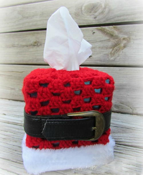 Crochet Santa Tissue Box Cover Pattern