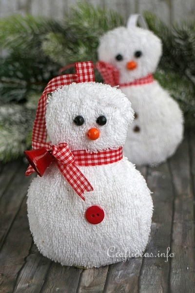 Adorable Washcloth Snowman Christmas Ornament