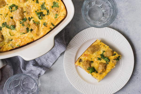 Meatless Breakfast Tater Tot Casserole
