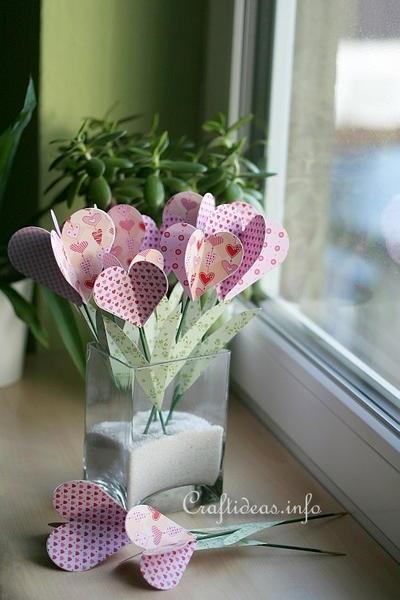 Elegant Paper Hearts Bouquet Allfreeholidaycrafts Com