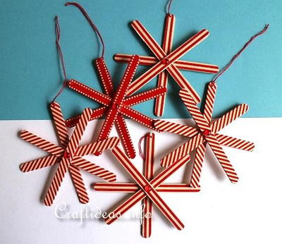 Festive Popsicle Stick Christmas Snowflakes