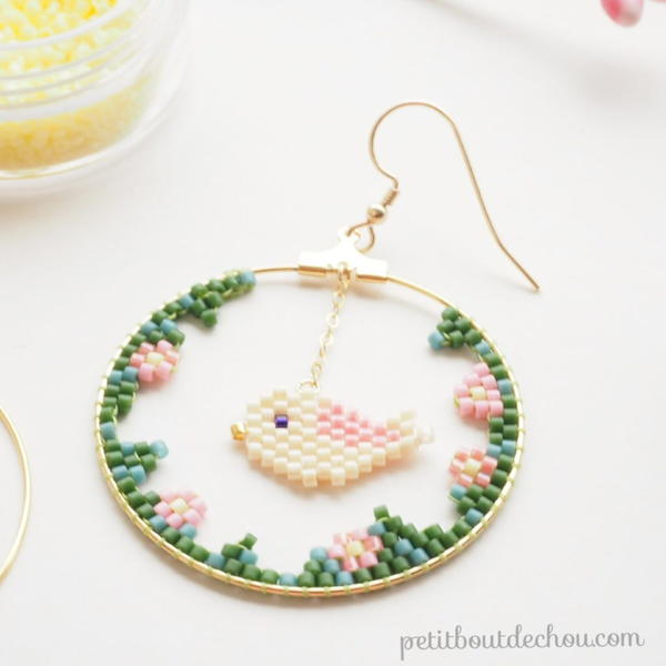 Miyuki Spring Bird Earrings