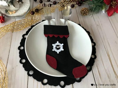 Felt Christmas Stocking Silverware Holder