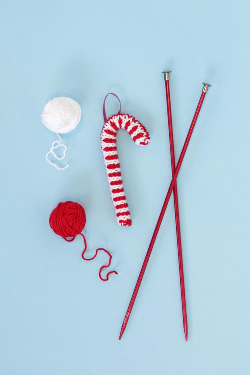 Knit Candy Cane Ornament