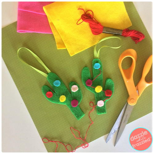 Easy No-Sew Felt Cactus Ornament