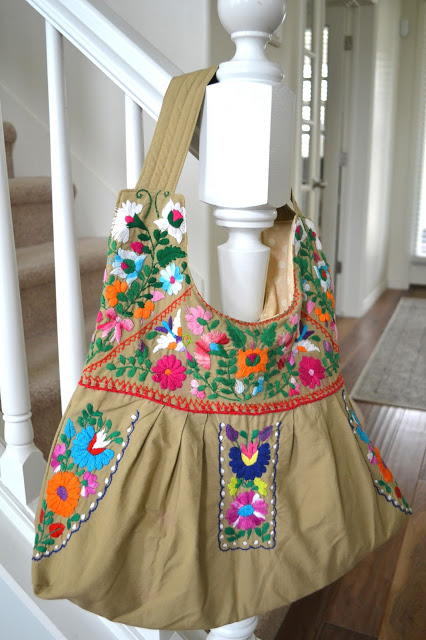 Embroidered Dress to Tote Refashion