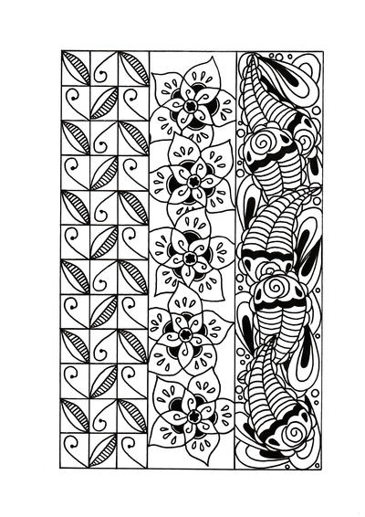 Three Shades of Zentangle Adult Coloring Page