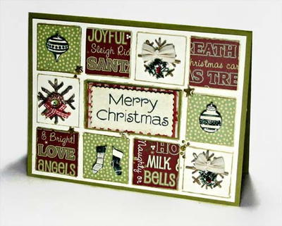 Upcycled Christmas Grid Cards