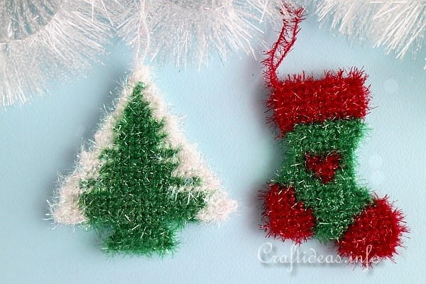 Sparkly Plastic Canvas Christmas Ornaments