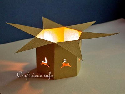 Mini Christmas Paper Tea Light Holder