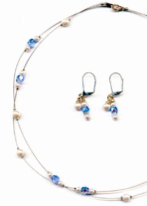 Double Strand Illusion Necklace and Earrings