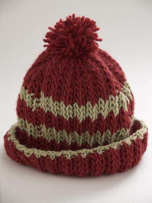 Stripe Hat in Rib Stitch
