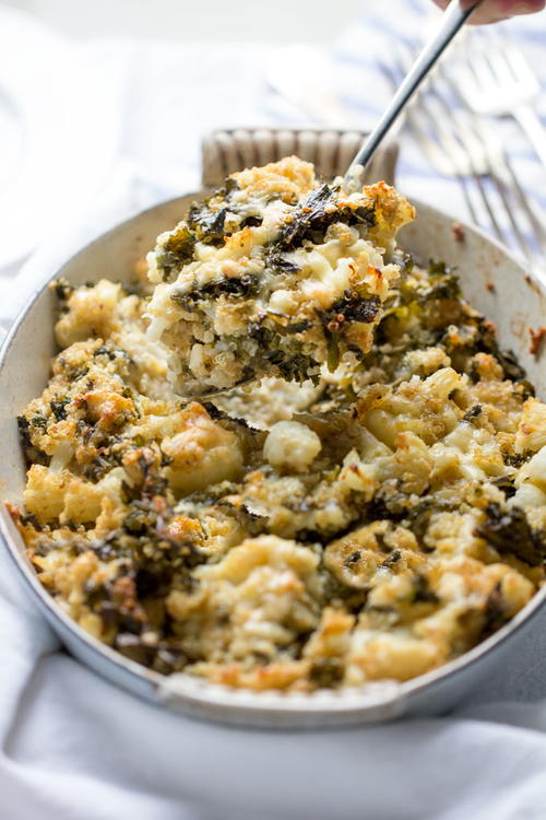 Cauliflower Casserole with Quinoa Kale and Sharp Cheddar