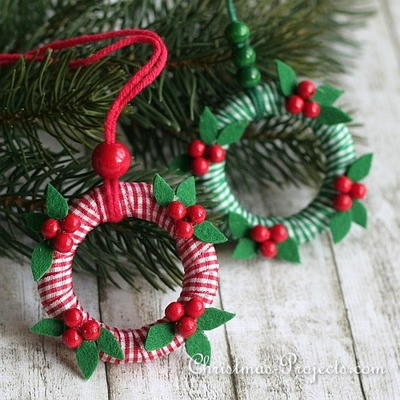 Miniature Christmas Wreath Ornaments