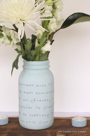 French Script Mason Jar Vase