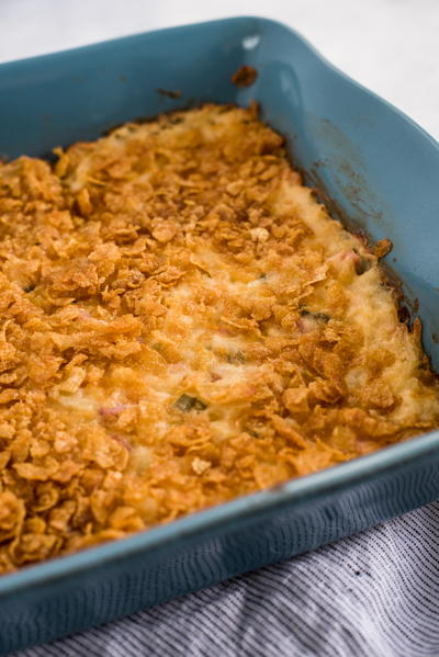 Cheesy Potato and Corn Flake Casserole