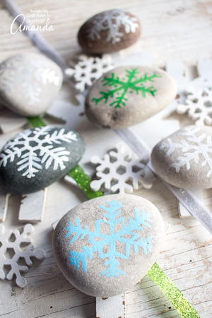 Inexpensive Snowflake DIY Painted Rocks