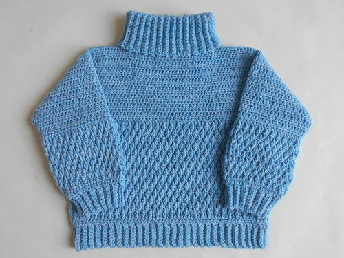 Crochet Sweater High Neck Pullover