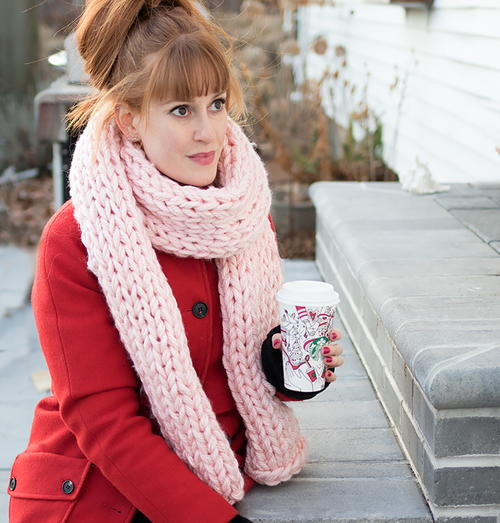 Millenial Pink Knit Scarf