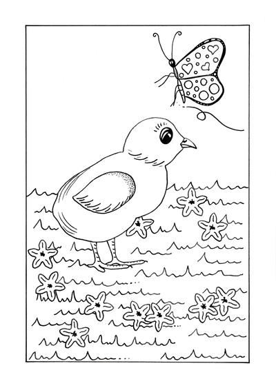 Spring Chick Kids Coloring Page