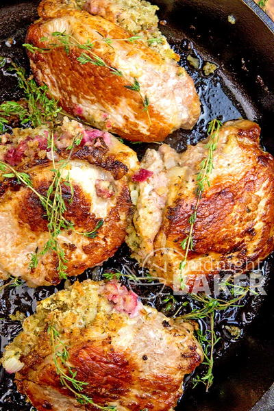 Skillet Pork Chops Stuffed with Cranberries