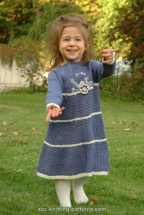 Knit Blue Porcelain Girls Lace Dress