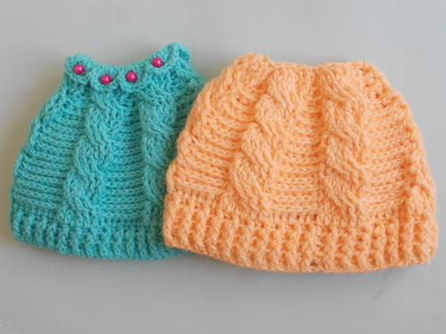Crochet Cable Ponytail Hat