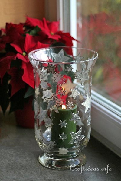 Sparkling Stars for Christmas Candle Glass