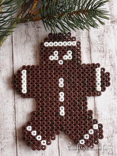 Perler Beads Gingerbread Man Ornament