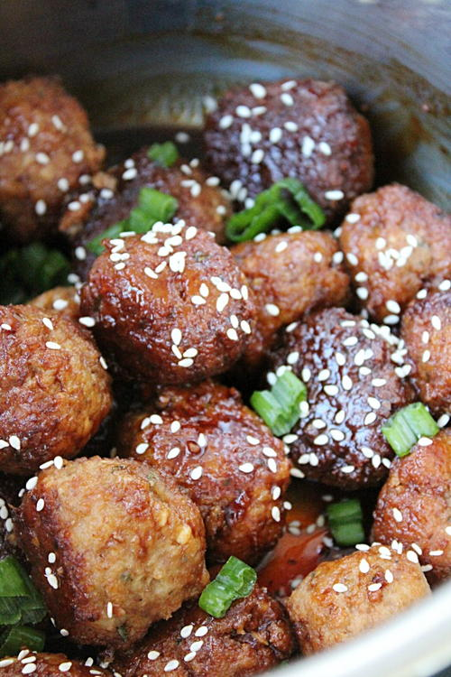 Slow Cooker Asian Sesame Turkey Meatballs