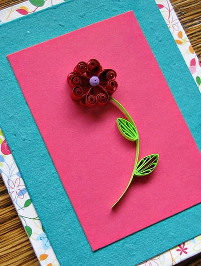 Lovely Quilled Heart Flower Card