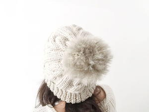 Wool Beanie with Faux Fur Pom Pom