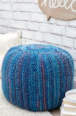 Pop of Color Knit Pouf
