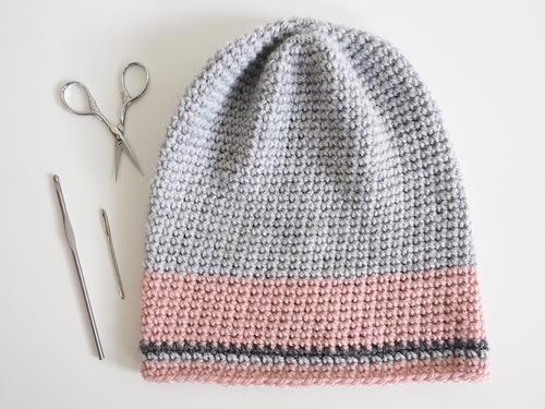 Simple Slouch Pom Pom Beanie Crochet Hat | FaveCrafts com