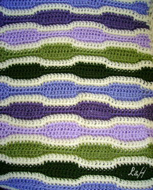 Lilac Sound-Waves Afghan