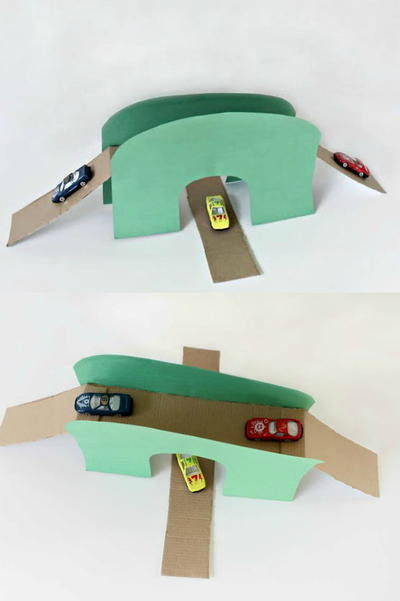 Upcycled Toy Car Bridge and Tunnel