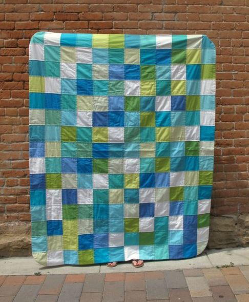 Cool Color Checkered Quilt