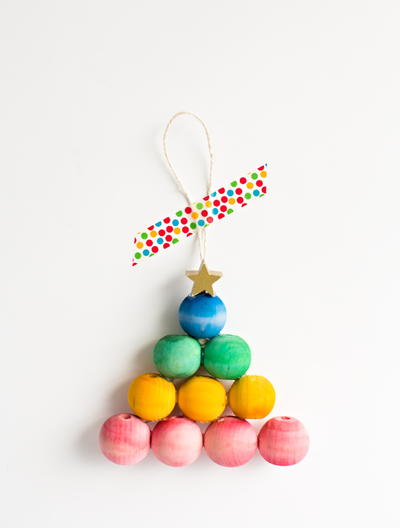 Rainbow Bead Christmas Tree Craft
