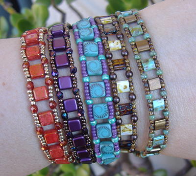 Colorful Tile Bead Stacker Bracelets