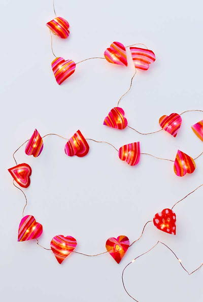 DIY Valentine Heart String Lights